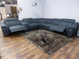 MASSICCIO ITALIAN LEATHER ANTHRACITE ELECTRIC RECLINING CORNER SOFA
