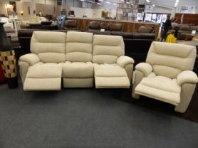 LA-Z-BOY MANHATTAN CREAM FABRIC 3 & CHAIR ELECTRIC RECLINERS