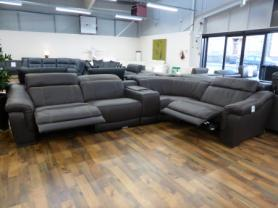 BIANCO ITALIAN LEATHER ELECTRIC RECLINING MODULAR CORNER SOFA IN BROWN