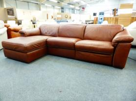 Natuzzi Edition Sylvia B760 Electric reclining Chaise corner Cognac