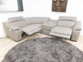 Bianco Italian leather 4 piece grey electric corner