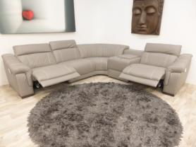 Bianco Italian leather 5 piece grey electric corner