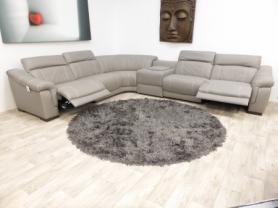 Bianco Italian leather 6 piece grey electric corner
