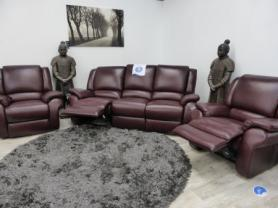 La-Z-Boy Denver Bordeaux leather 3+1+1 all electric recliners