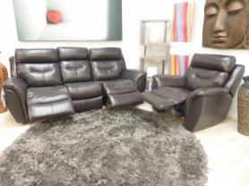 LA-Z-BOY LEATHER 3 SEATER & CHAIR BOTH RECLINERS